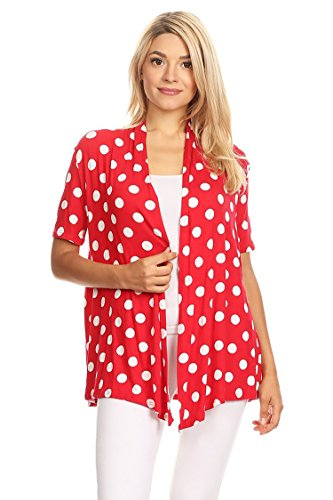 (Solid & Printed Short Sleeves Open Front Draped Cardigan/MADE IN USA Red Polka Dot)