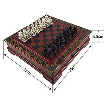 JSGJZY Game Wood Chess Chinese Retro Terracotta Warriors Chess Wood Do Old Carving Resin Chessman Christmas Birthday Premium Gift