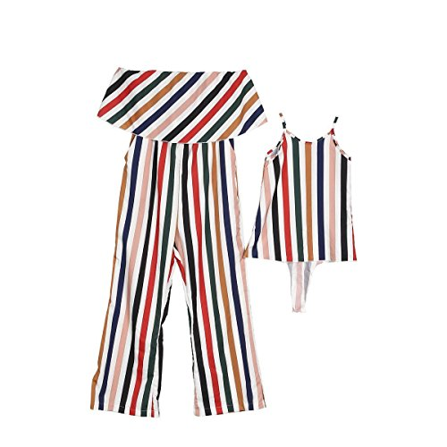 Family Matching Dresses Mother Daughter Sleeveless Stripe Dr