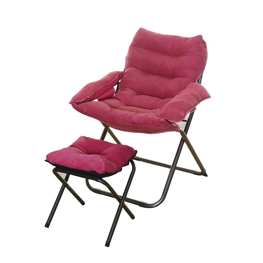 LJHA dengzi コンピュータチェアバックレストシート折りたたみソファチェア、とともにフットスツール+枕、取り外し可能な布製カバー、スチールフィート、7色 ラウンジチェア (色 : ローズレッド)  ローズレッド B07PB1HGNT