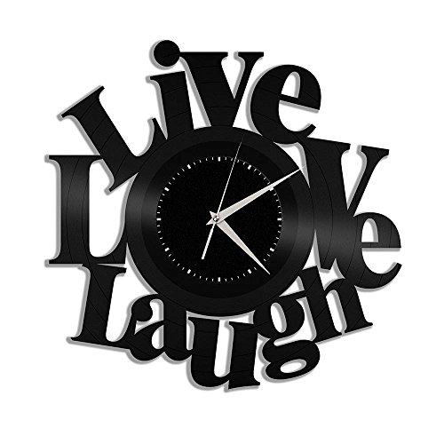 Cheap VinylShopUS Live Love Laugh Vinyl Wall Clock Souvenir