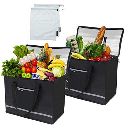 Bag Combo Pack - Northies Insulated Reusable Grocery Bags / Mesh Produce Bags Combo Pack (4 Items), X-Large, Premium Quality, Front Pocket, Reinforced Handles, Sturdy Zipper, Foldable, Stands Upright, Food Delivery