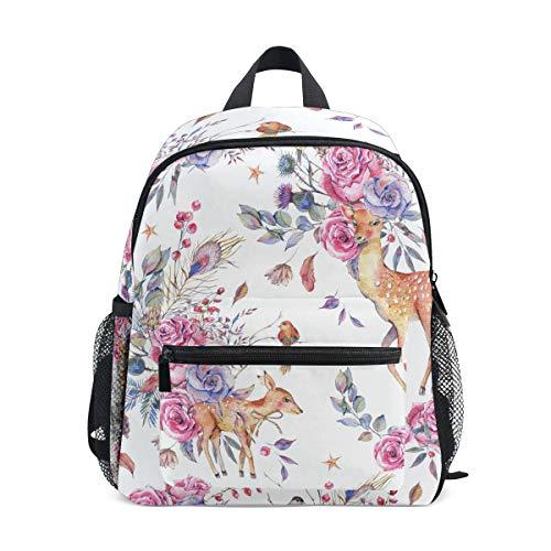 (Kids Backpack Hand Painted Sika Deer Rose Flower Print School Bags Daypack)