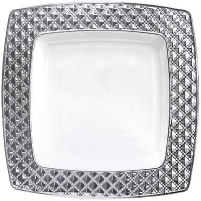 Royalty Settings Diamond Collection Hard Plastic Plates for Weddings for 120 Persons, Includes 120 Dinner Plates, 120 Salad Plates, 240 Forks, 120 Spoons, 120 Knives, White with Silver Rim -