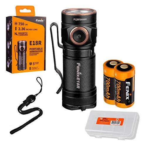 (Fenix E18R 750 Lumen Ultra Compact Rechargeable Flashlight 2x Rechargeable Batteries & LumenTac Battery Organizer)