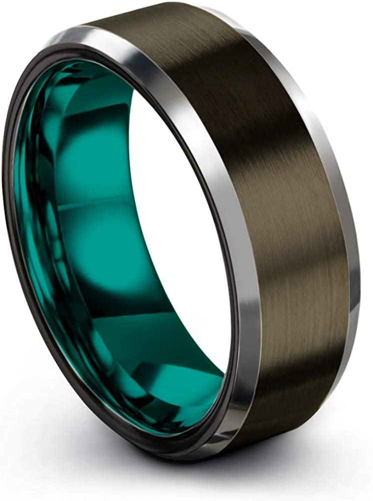 Chroma Color Collection Tungsten Carbide Wedding Band Ring 8mm for Men Women Green Red Blue Purple Black Gunmetal Copper Fuchsia Teal Interior with Beveled Edge Brushed Polished