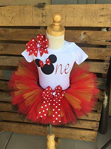 "515a3f8fc Image Unavailable. Image not available for. Color: Minnie Mouse  Disney""ONE"" Tutu Outfit Set Dress Shirt First Birthday ..."