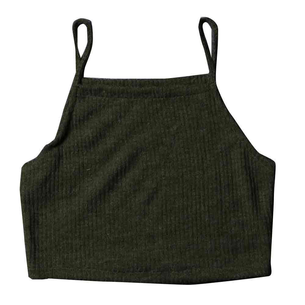 iLUGU Fashion Women Knitwear Sleeveless Top Cami Shirt Blouse Casual Crop Vest T Shirts Graphic Tees for Strapless Army Green