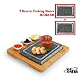 japanese bbq table grill - Artestia Double Cooking Stones in One Sizzling Hot Stone Set, Deluxe Tabletop Barbecue/BBQ/Hibachi/Steak Grill (One Deluxe Set with Two Stones)