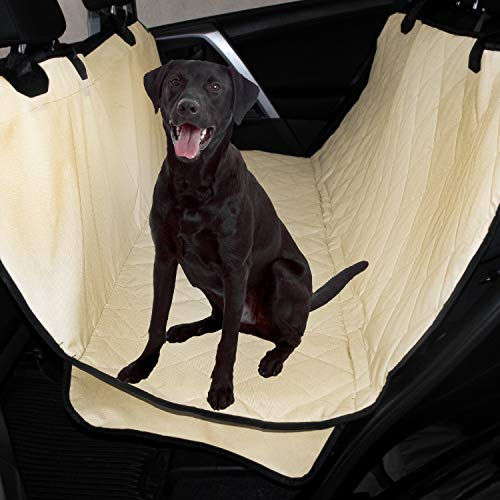 Plush Paws Products Waterproof Pet Seat Cover Non-Slip Hammock with Bonus Two Seat Belts and Two Dog Harnesses (Tan)