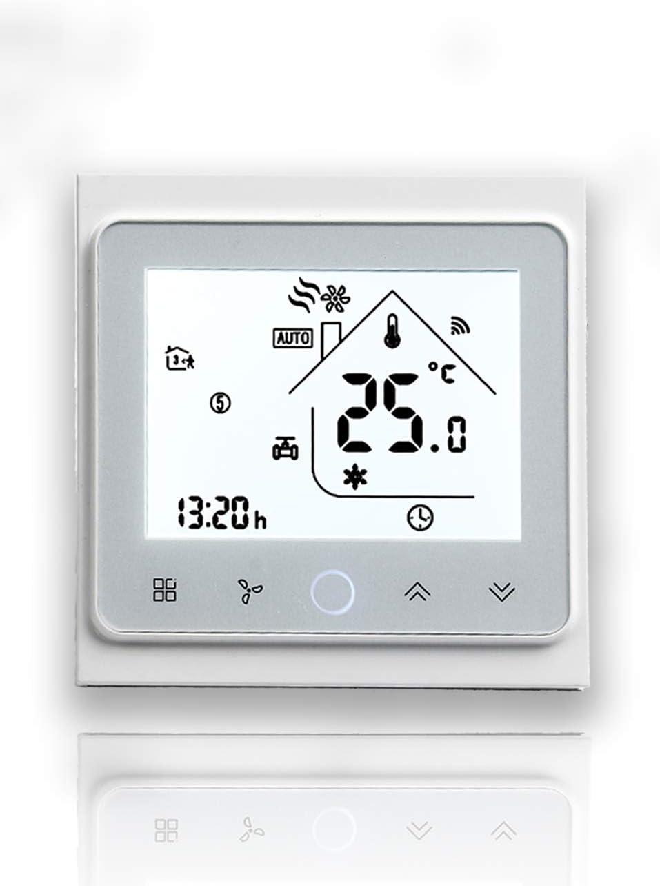 Beca 002 Serie Pantalla táctil Termostato de sala Dos/Cuatro tubos para aire acondicionado Fan Coil con conexión Wifi para soporte Voz inteligente (Cuatro tubos, Blanco completo)