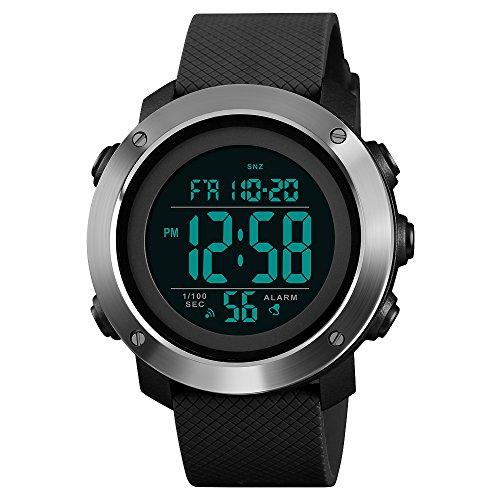 (Mens Multifunction Digital Sport Watch Countdown Alarm EL Light Waterproof Watch 12/24 Hour Clock (Black))