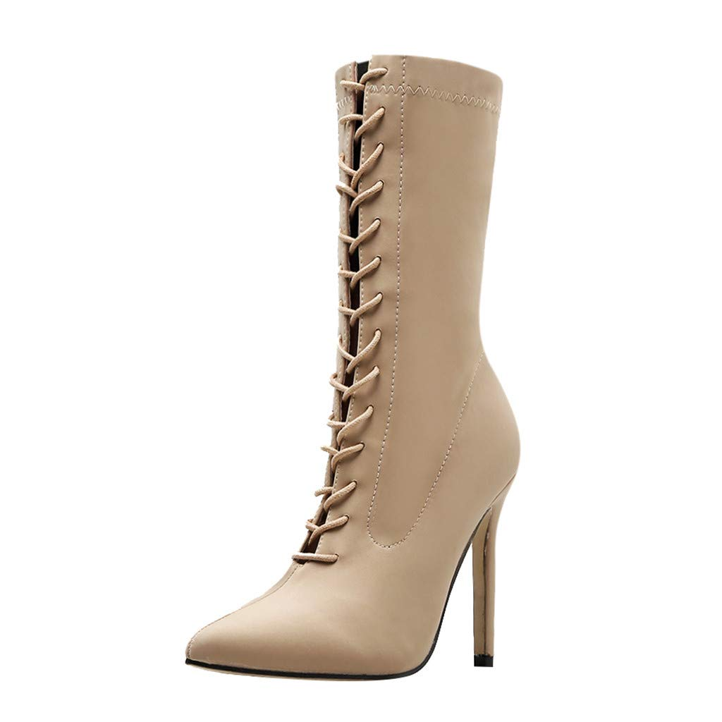 FRENDLY Womens Fashion Pointed Cross Strap Stiletto Ankle Booties Lace-Up High Heel Shoe Comfortable Boot Beige