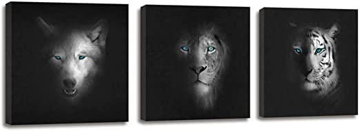 Wolf Moon Wild ANIMALS  Canvas Art Print Box Framed Picture Wall Hanging BBD