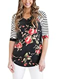 HOTAPEI-Women-Casual-Floral-Print-3-4-Sleeve-Striped-Crew-Neck-Blouse-Tops