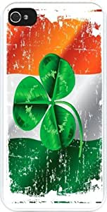 Rikki KnightTM Shamrock on Irish Flag Grunge Design iPhone 4 & 4s Case Cover (White Rubber with bumper protection) for Apple iPhone 4 & 4s