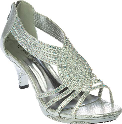 premium13 Womens Evening Sandal Rhinestone Silver Dress-Shoes Size 8.5 from Shoes Picker