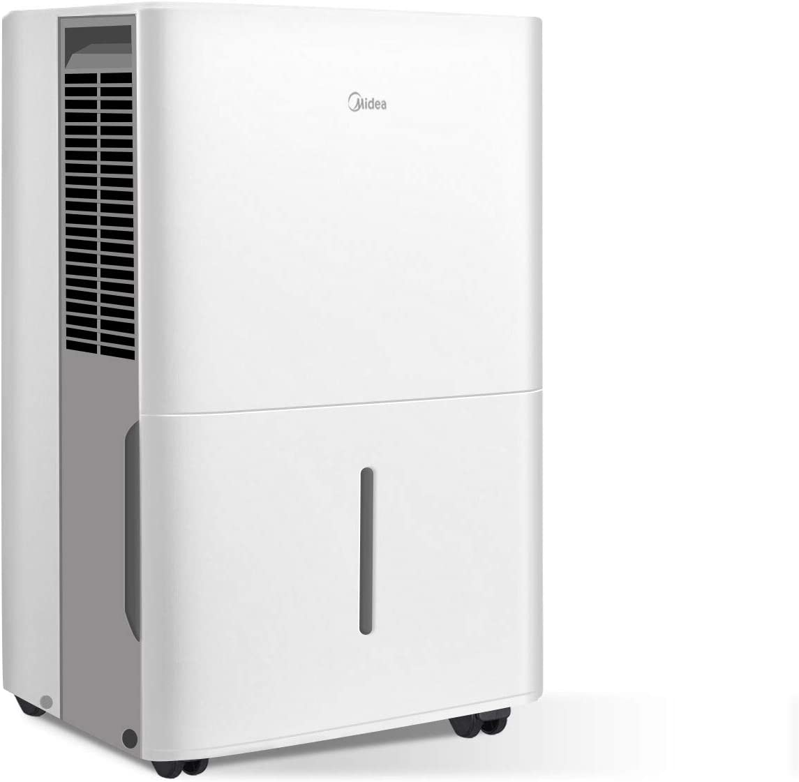 MIDEA MAD50C1ZWS Dehumidifier 70 Pint with Reusable Filter, Ideal for basements, bedroom, bathroom, with bucket of 1.6 gallon, Pint 50 Pint New DOE