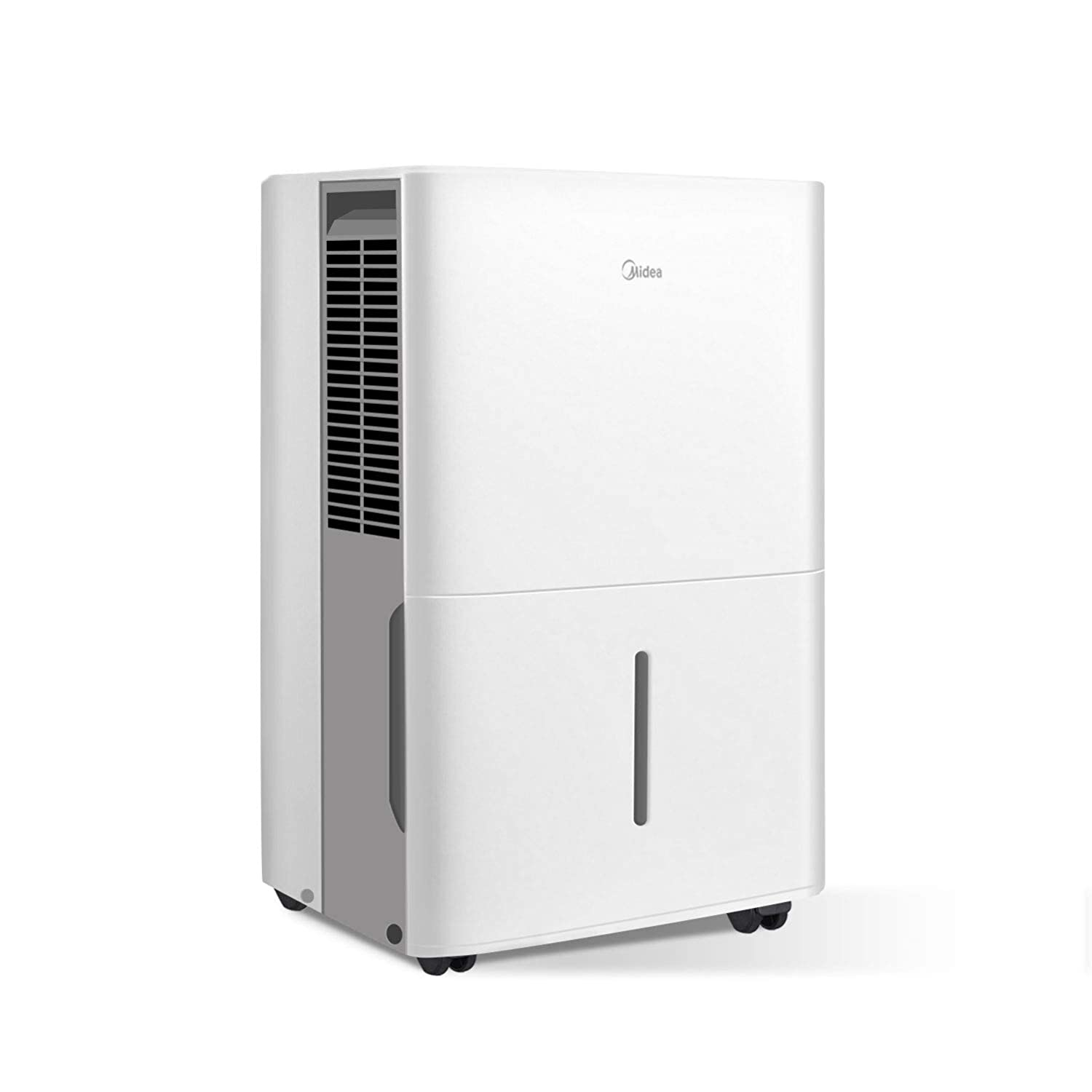 MIDEA MAD50C1YWS Dehumidifier 50 Pint with Reusable Filter, Ideal for basements, bedroom, bathroom, with bucket of 1.6 gallon, Pint (35 Pint New DOE), white
