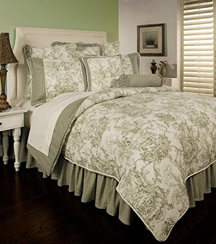 - Sherry Kline Country Toile Sage 4 Piece Comforter Set (King)