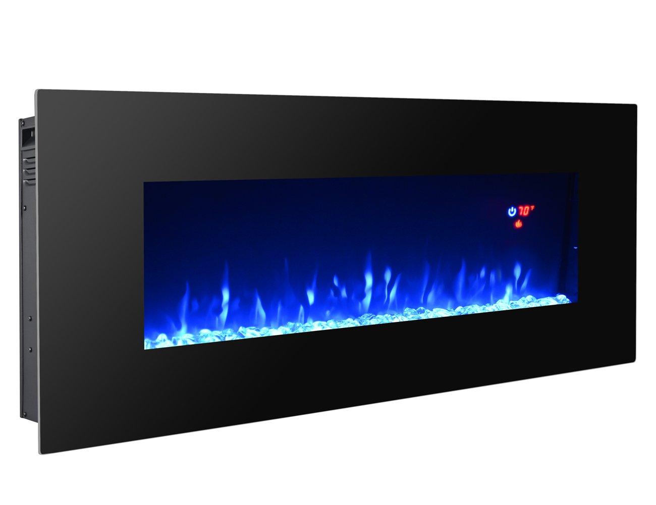3G Plus 40'' Electric Fireplace Wall Mounted Heater Crystal Stone Fuel Effect 3 Changeable Flame Color w/Remote- Black