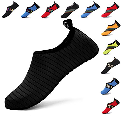WXDZ Womens Mens Water Shoes Quick-Dry Barefoot Aqua Socks For Swim Beach Surf Pool Yoga Black wnoD02Z7