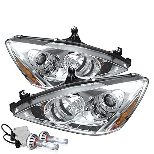 (VIPMOTOZ LED Halo Ring Chrome Projector Headlight Lamp Assembly For 2003-2007 Honda Accord - Built-In CSP LED Low Beam, Driver & Passenger Side)