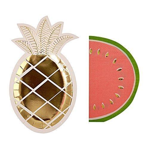 Fruit Napkins - Meri Meri Furit Party Pack: Pineapple Plates (S/8) & Watermelon Napkins (S/16)