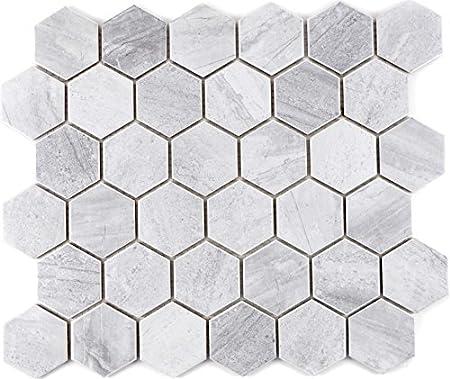 Mosaik Fliese Céramique Hexagon Travertin Paroi Gris mat ...