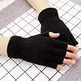 Sinwo Women Gloves Mitten Fingerless Knitted Crochet Half-Fingers Gloves Adult Warm Winter (Black)