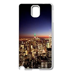 {Funny Series} Samsung Galaxy Note 3 Case New York City at Night 3, Shock Absorbent Case Okaycosama - White
