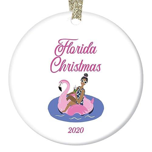 Christmas 2020 Florida Amazon.com: Florida Christmas 2020 Tree Ornament Pink Flamingo