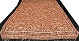 Carob-Brown Reversible Jamawar Sofa-Throw with Woven Paisleys and Flowers - Pure Wool