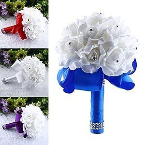 MingXiao Handmade Brooch Bride Rhinestone Wedding Bouquet Artificial Flowers Purple 15