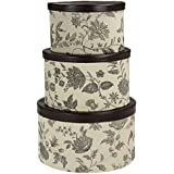 Household Essentials 3-Piece Hat Box Set with Faux Leather Lids, Floral Pattern