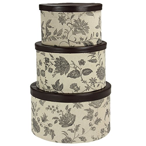 Household Essentials 3-Piece Hat Box Set with Faux Leather Lids, Floral Pattern ()