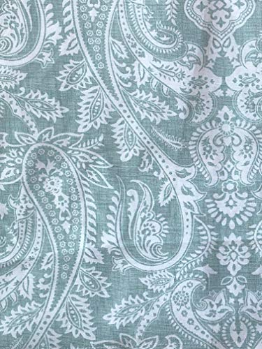 Raymond Waites Window Curtains Classical Paisley Pattern in White on Sage Green, Panels Drapery 100% Cotton Luxury, 50 Inches by 96 Inches