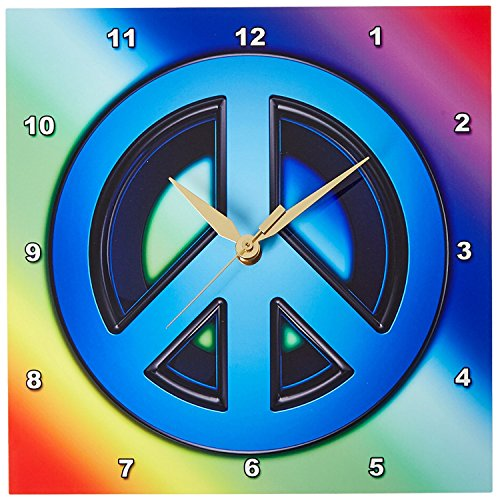 Peace Sign Over Rainbow Background Love Wall Clock