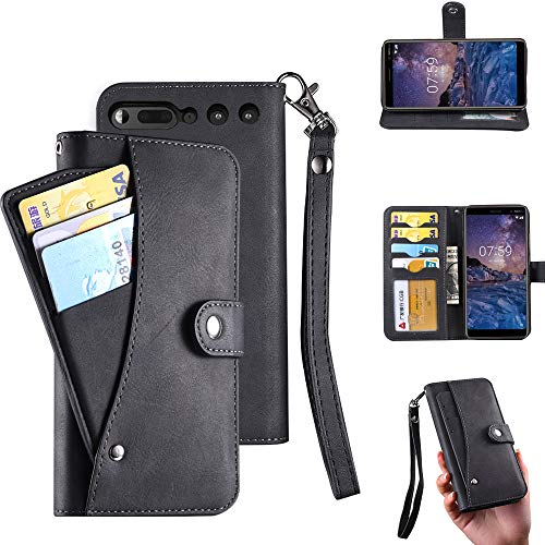 Essential Ph-1 Case, Essential Phone Wallect Case, [Wallet Stand] Flip Magnetic 6 Cards Slot/Cash Pocket PU Leather Cover with Wrist Strap and Oil Edge Making for Essential Phone PH-1 (Black)