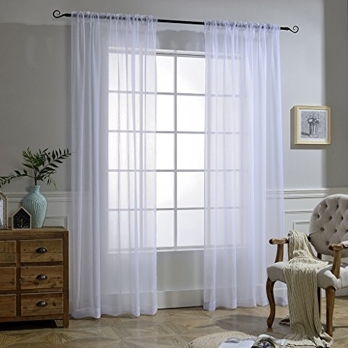 NICETOWN White Sheer Curtains Voile Draperies Rod Pocket & Back Tab Crushed Sheer Window Treatment Voile Curtain Panels for Living Room (1 Pair, 52 Wide x 84 inch Long)