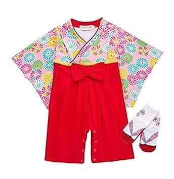 6a05588325bc5 Marchen Rose 袴 ロンパース(靴下付き) 和装 和服 新生児 お宮参り (80