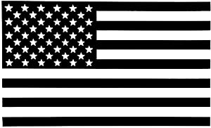 PLU American Flag Black Decal Vinyl Sticker|Cars Trucks Vans Walls Laptop| Black |5.5 x 3 in|PLU875