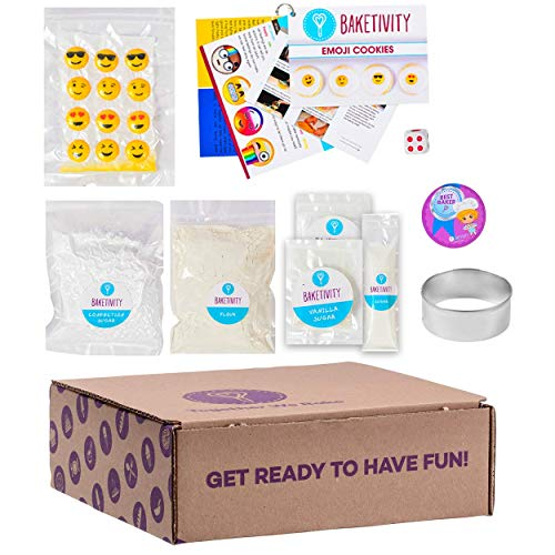 BAKETIVITY Kids Baking DIY Activity Kit - Bake Delicious Emoji Cookies With Pre-Measured Ingredients - Best Gift Idea For Boys And Girls Ages 6-12