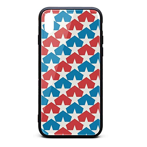 Phonerebey iPhone Xs Max Case,American Flag and Stars Anti-Scratch Shockproof Slim Cover Case Compatible with Apple iPhone Xs Max Case,TPU and Tempered Glass ()