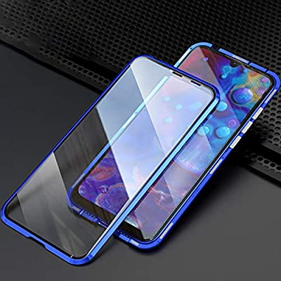 PHOVOLT Galaxy A70 Magnetic Case 360° Tempered Glass Shockproof Magnetic Adsorption Metal Bumper Flip Cover (Black): Clothing