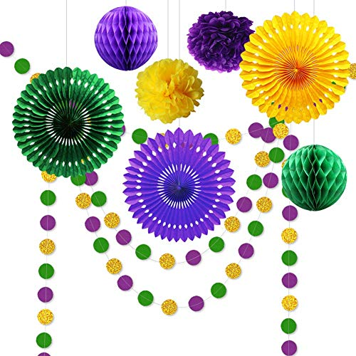 9pcs Gold Purple and Green Decorations for Party Centerpiece Glitter Circle Garlands Banner Paper Fan Pom Poms for Fat Tuesday/Mardi Gras Theme Celebration/baby Shower/Birthday/Easter Party Supplies -