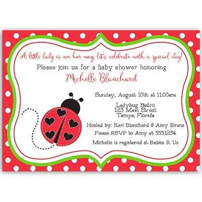 Ladybug Baby Shower Invitation, Lil Lady Bug, Baby Sprinkle, Invite, Red, Black, Green, Polka Dots, Spring, Pack of 10 Custom Printed Invites and Envelopes, -