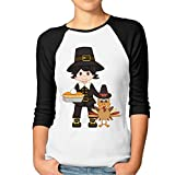 img - for Happy Thanksgiving Day Women's Cool 100% Cotton 3/4 Sleeve Athletic Baseball Raglan Sleeves T-Shirt Black US Size L book / textbook / text book