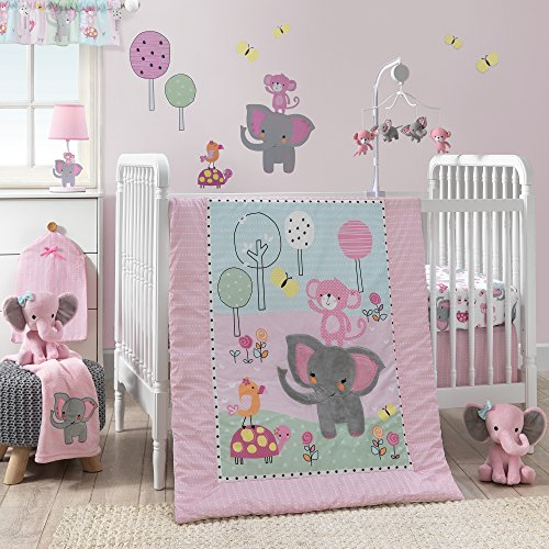 Baby Nursery Girl - Bedtime Originals Twinkle Toes Jungle Elephant 3 Piece Bedding Set, Pink/White