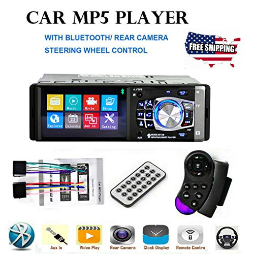 Single Din Bluetooth Car Stereo Mp3 Mp4 Mp5 Audio Video Player FM Radio/AM Radio/TF/USB/AUX-in with Remote Control GPS Navigation for Car with Rear View Camera/Mirror Link Caller ID